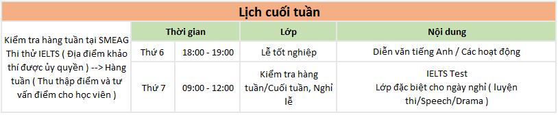 lịch học cuối tuần của khóa ielts