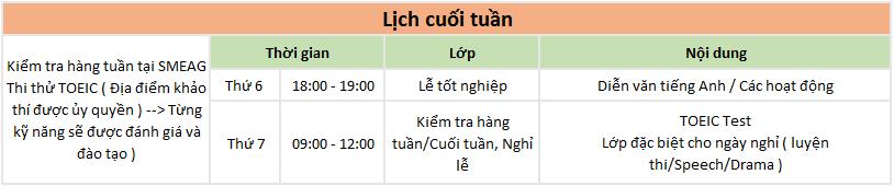 Lịch sinh hoạt cuối tuần của khóa TOEIC